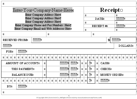 Business receipt forms reduced views of the receipt form templates flashek Images